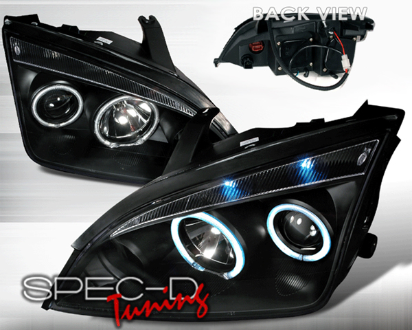SpecD Black CCFL Halo LED Projector Headlights Ford Focus 05-07 - 3LHP-FOC05JM-KS