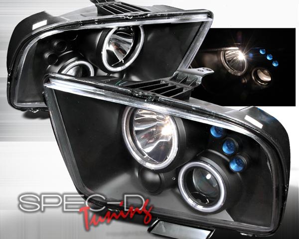 SpecD V1 Black CCFL Halo LED Projector Headlights Ford Mustang 05-09 - 3LHP-MST05JM-KS