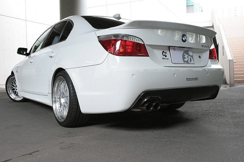 3D Design Carbon Fiber Rear Diffuser Single Exhaust BMW 5 Series E60 E61 M-Sport 06-10 - 3108-16011