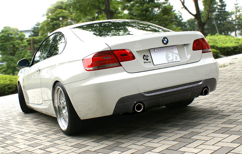 3D Design Carbon Fiber Rear Diffuser 2 Tip Exhaust BMW 3 Series E92 E93 335i Coupe Convertible M-Sport 06+