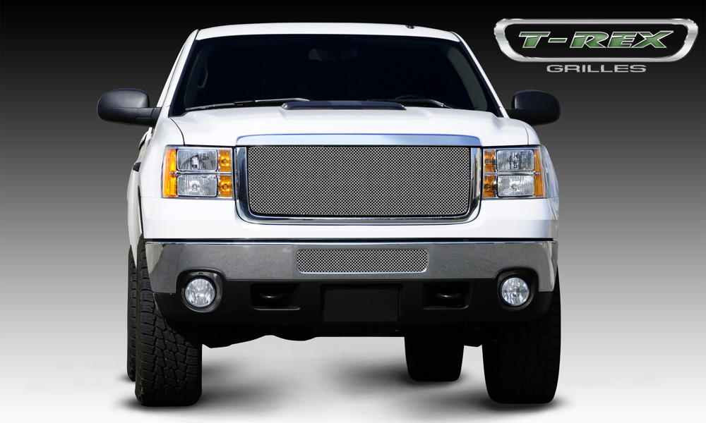 Sierra HD Grille 11-14 GMC Sierra HD Stainless Triple Chrome Sport Series T-REX Grilles - 44209