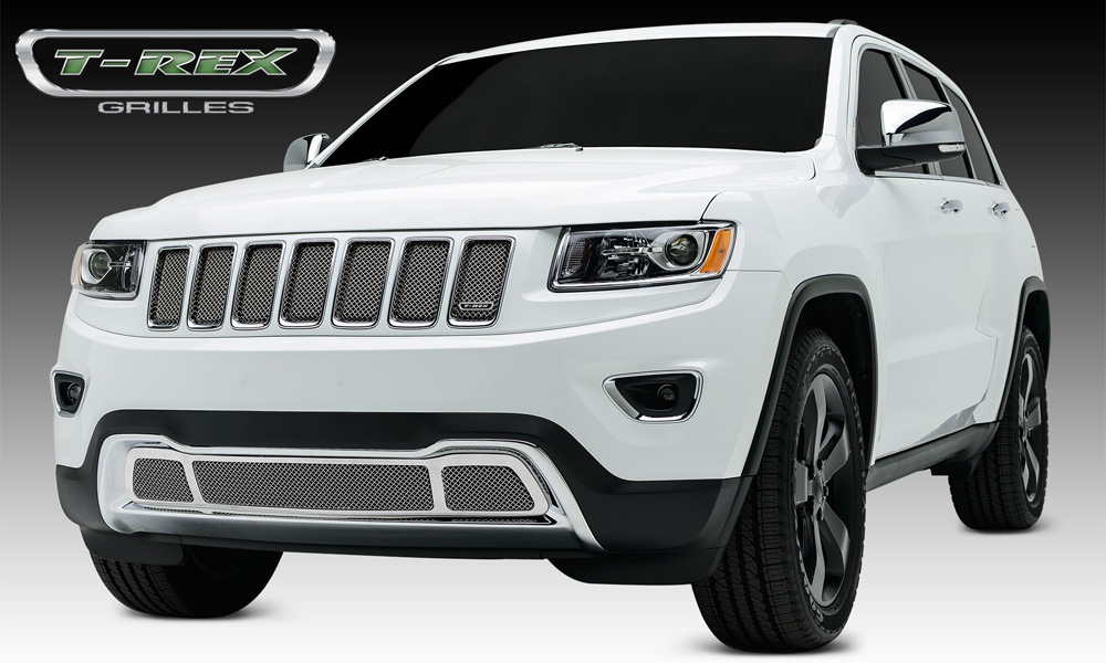 Grand Cherokee Grille 14-15 Jeep Grand Cherokee Stainless Chrome 1 Piece Sport Series T-REX Grilles - 44488