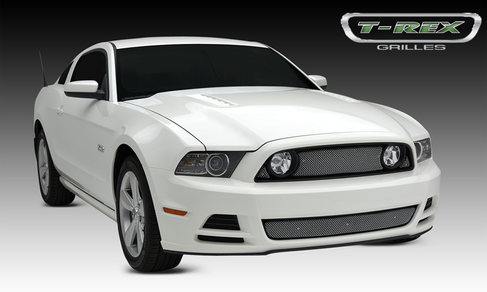 Mustang GT Grille 13-14 Ford Mustang GT Stainless Chrome 3 Piece Sport Series T-REX Grilles - 44525