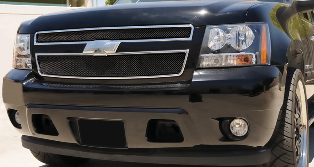 Chevy Grille 07-13 Chevrolet Tahoe/Suburban/Avalanche Mild Steel Powdercoat Black 2 Piece Sport Series T-REX Grilles - 46051