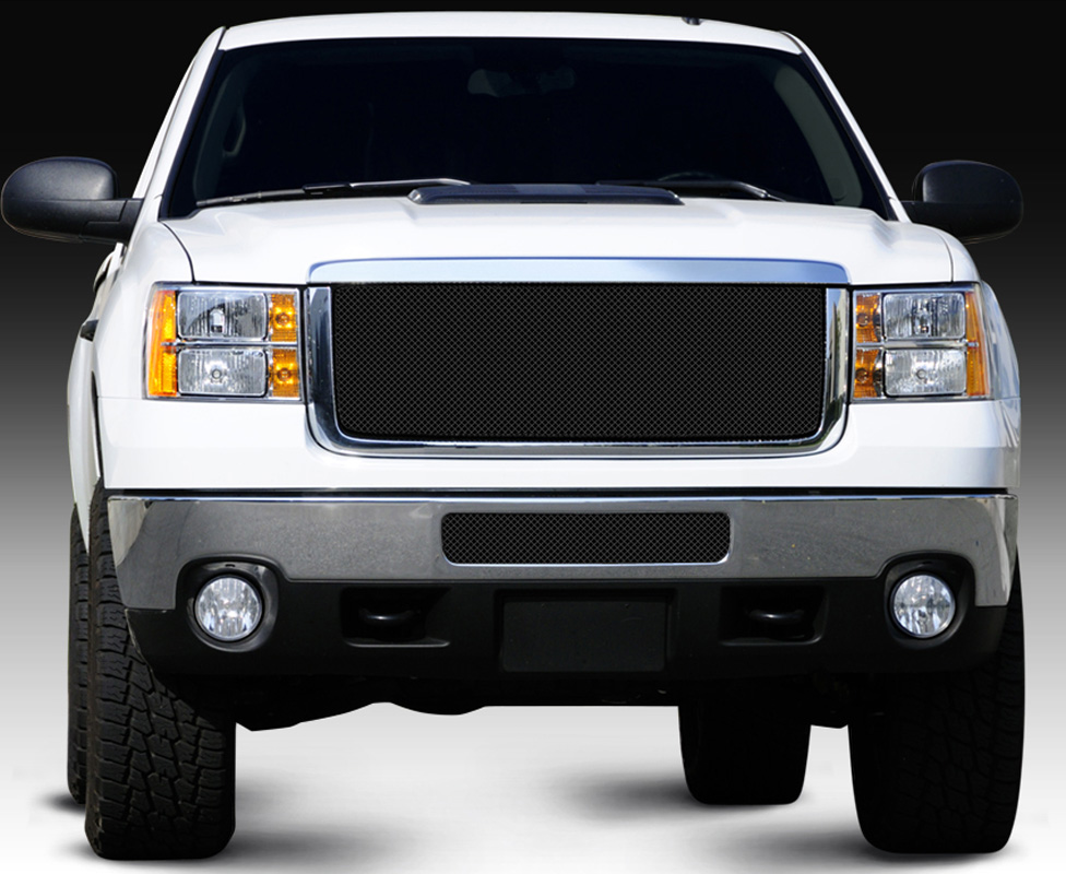 Sierra HD Grille 11-14 GMC Sierra HD Mild Steel Powdercoat Black Sport Series T-REX Grilles - 46209