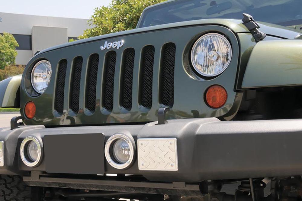 Wrangler Grille 07-17 Jeep Wrangler Mild Steel Powdercoat Black Sport Series T-REX Grilles - 46481