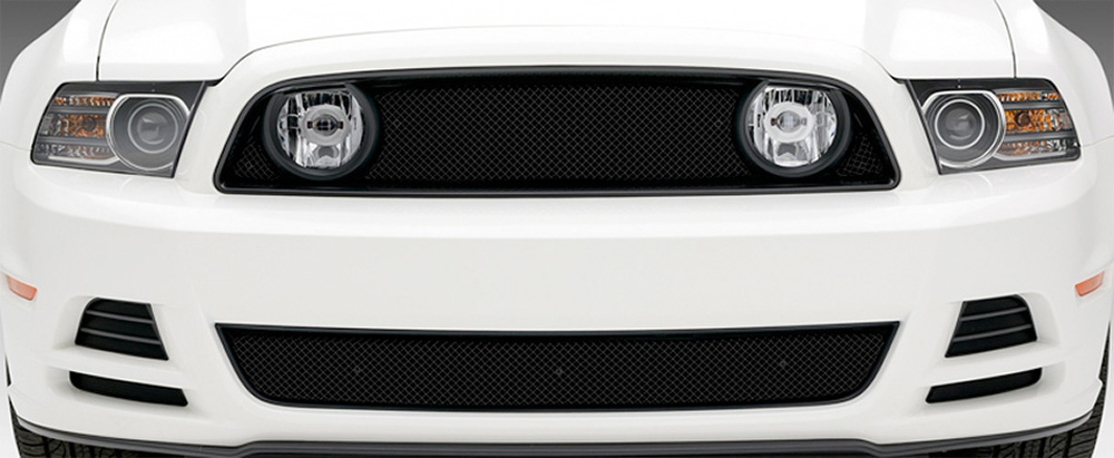 Mustang GT Grille 13-14 Ford Mustang GT Stainless Powdercoat Black 3 Piece Sport Series T-REX Grilles - 46525
