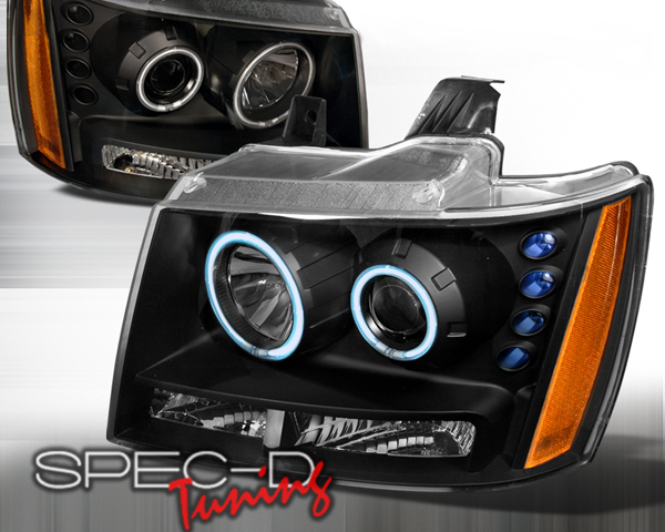 SpecD Black CCFL Halo Projector Headlights Chevy Tahoe 07-09 - 4LHP-AVA07JM-KS