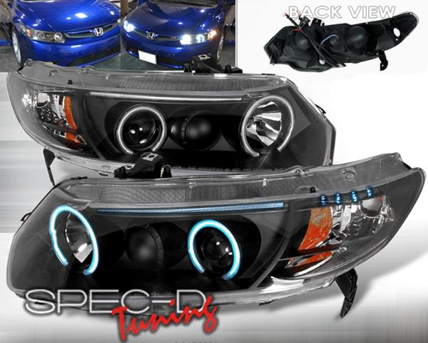SpecD Black CCFL Halo Projector Headlights Honda Civic 06-08 2D - 4LHP-CV062JM-KS