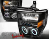 Image of SpecD Black CCFL Halo LED Projector Headlights Ford F-250 08-09