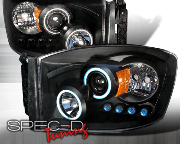 SpecD V1 Black CCFL Halo Projector Headlights Dodge Ram 06-08 - 4LHP-RAM06JM-KS