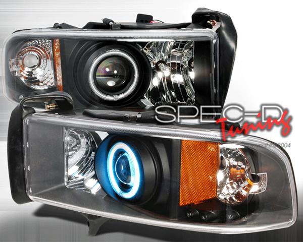 SpecD Black CCFL Halo Projector Headlights Dodge Ram 94-01 - 4LHP-RAM94JM-KS