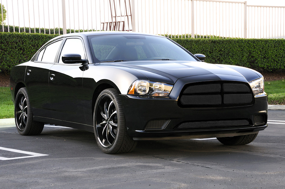 Charger Grille 11-14 Dodge Charger Mild Steel Powdercoat Black 4 Piece Upper Class Series T-REX Grilles - 51442