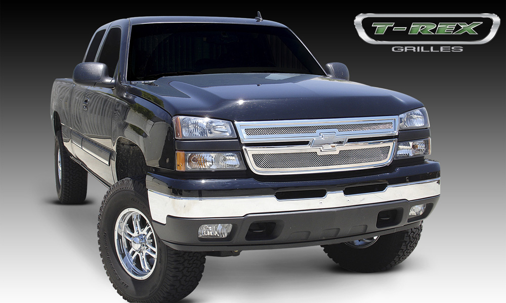 Silverado 2500 HD Grille 05-06 Chevrolet Silverado 2500 HD Stainless Polished 2 Piece Upper Class Series T-REX Grilles - 54106