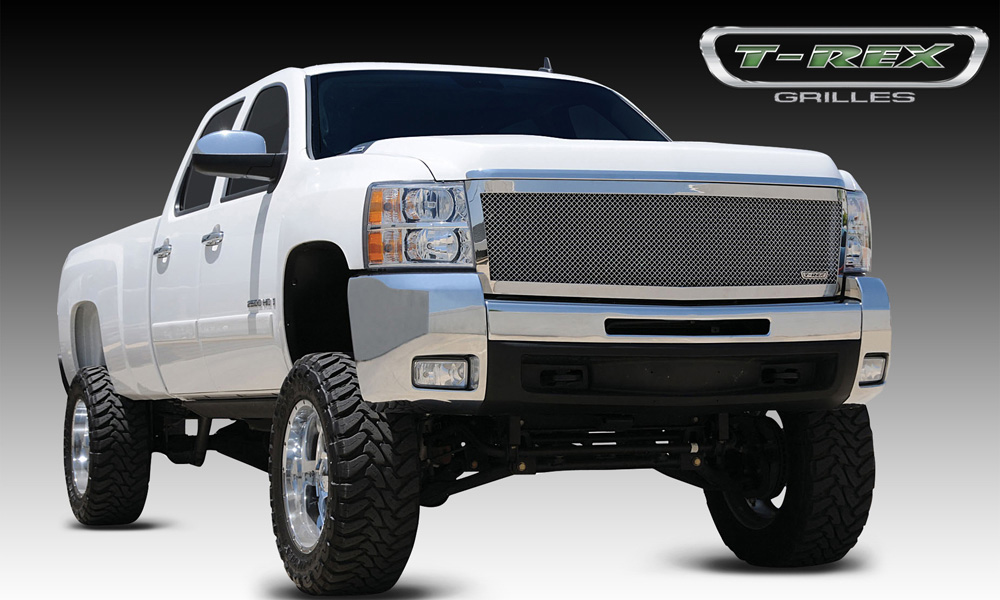 Silverado HD Grille 07-10 Chevrolet Silverado HD Mild Steel Powdercoat Polished Stainless 1 Piece Upper Class Series T-REX Grilles - 54113