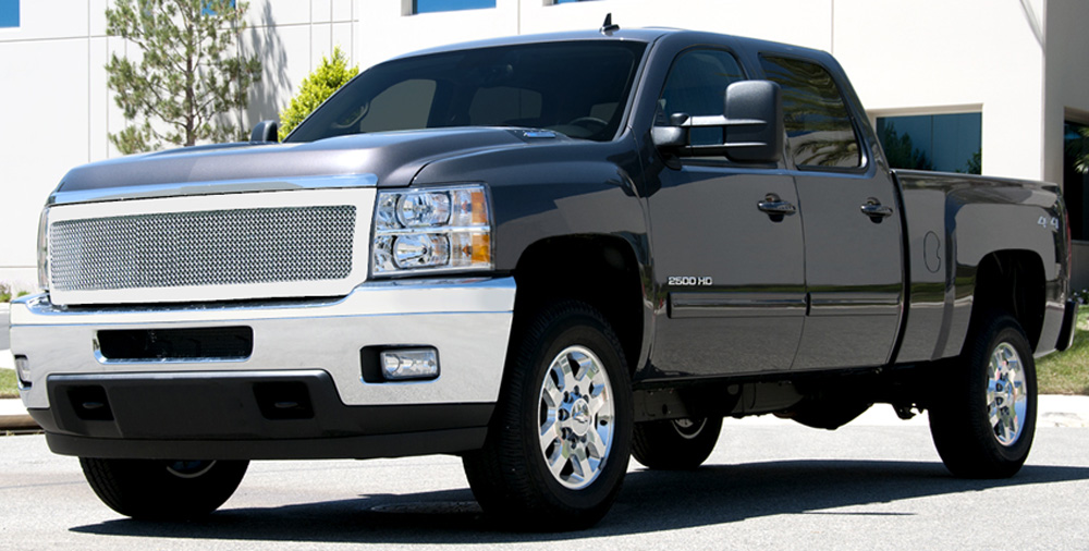 Silverado HD Grille 11-14 Chevrolet Silverado HD Stainless Polished 1 Piece Upper Class Series T-REX Grilles - 54115