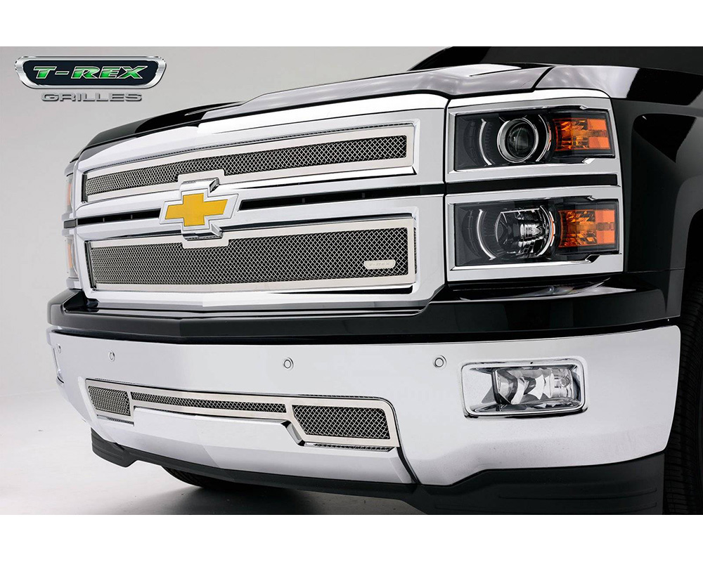 Silverado Grille 14-15 Chevrolet Silverado Stainless Polished 2 Piece Upper Class Series T-REX Grilles - 54117
