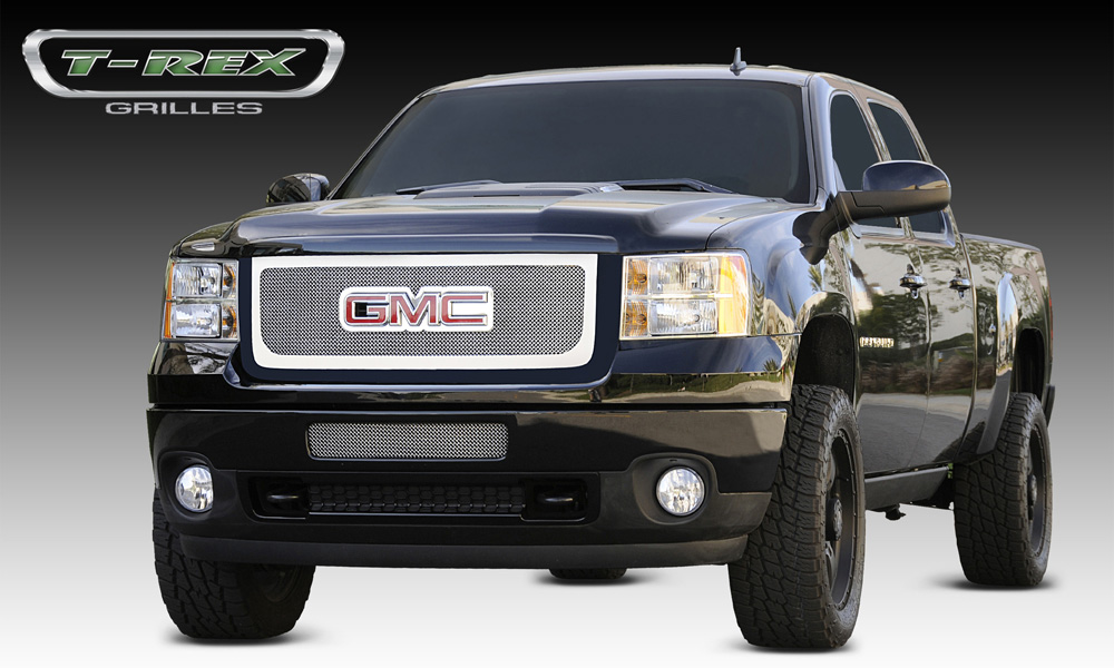 Sierra HD Grille Overlay W/Logo Opening 11-14 GMC Sierra HD Stainless Polished Upper Class Series T-REX Grilles - 54210