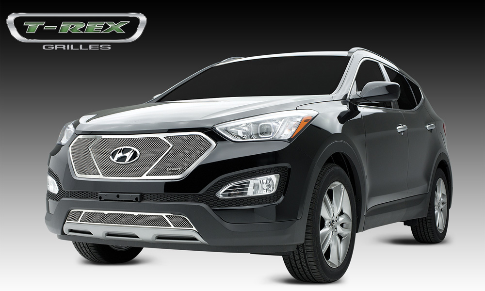 Santa Fe Sport Grille 3 Window Look 13-14 Hyundai Santa Fe Sport Stainless Polished Upper Class Series T-REX Grilles - 54491