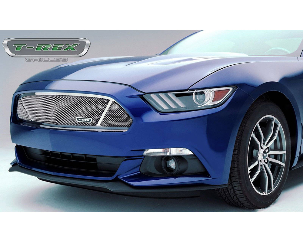 Mustang GT Grille 15-17 Ford Mustang GT PartitionedStainless Polished 1 Piece Upper Class Series T-REX Grilles - 54529