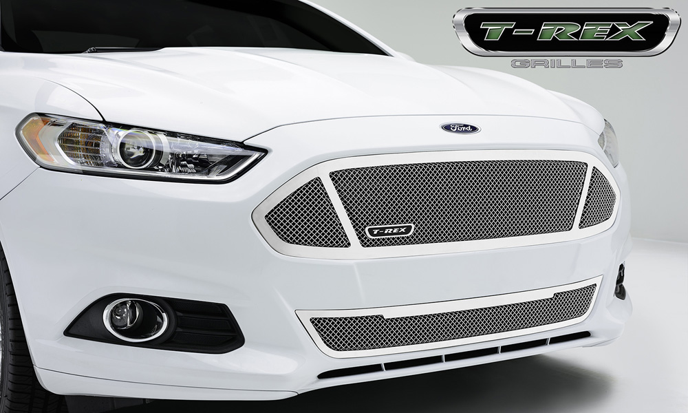 Fusion Grille 13-15 Ford Fusion Main W/3 Windows Stainless Polished 1 Piece Upper Class Series T-REX Grilles - 54531