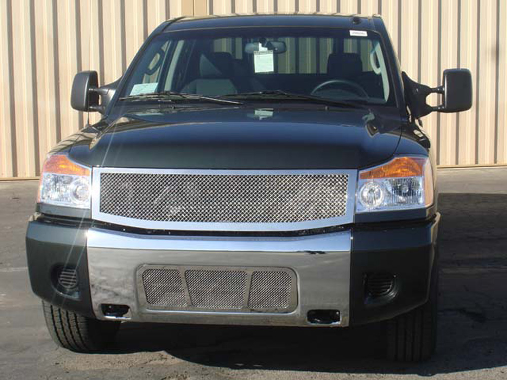 Titan Grille 08-14 Nissan Titan Stainless Polished 1 Piece Upper Class Series T-REX Grilles - 54779