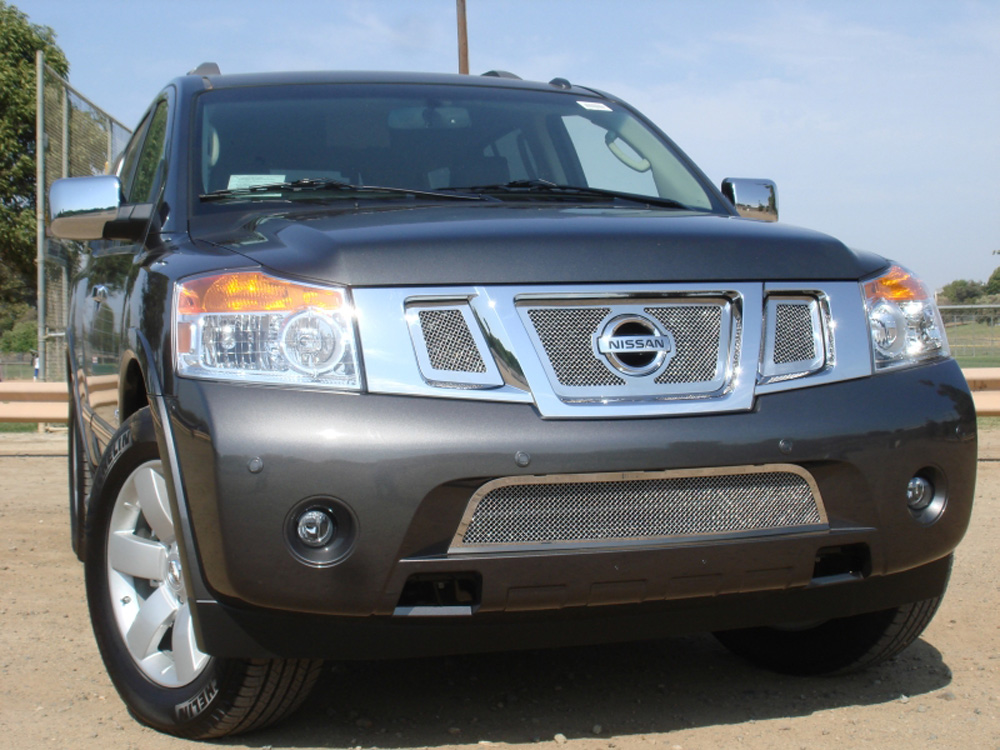 Armada Grille 08-14 Nissan Armada Stainless Polished 3 Piece Upper Class Series T-REX Grilles - 54782