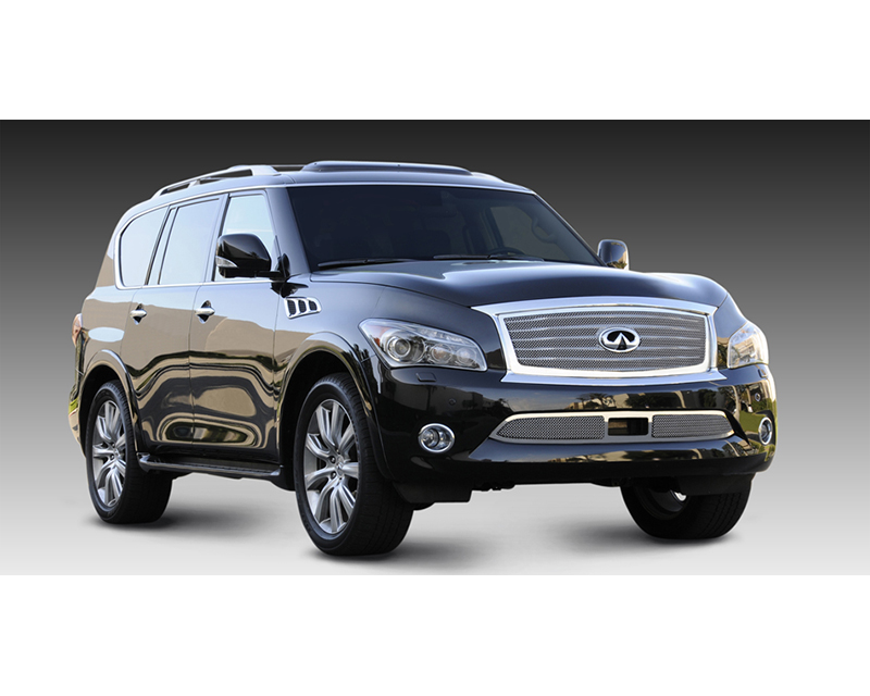 QX56 Grille 11-13 Infiniti QX56 W/OE Logo Plate Stainless Polished Upper Class Series T-REX Grilles - 54793