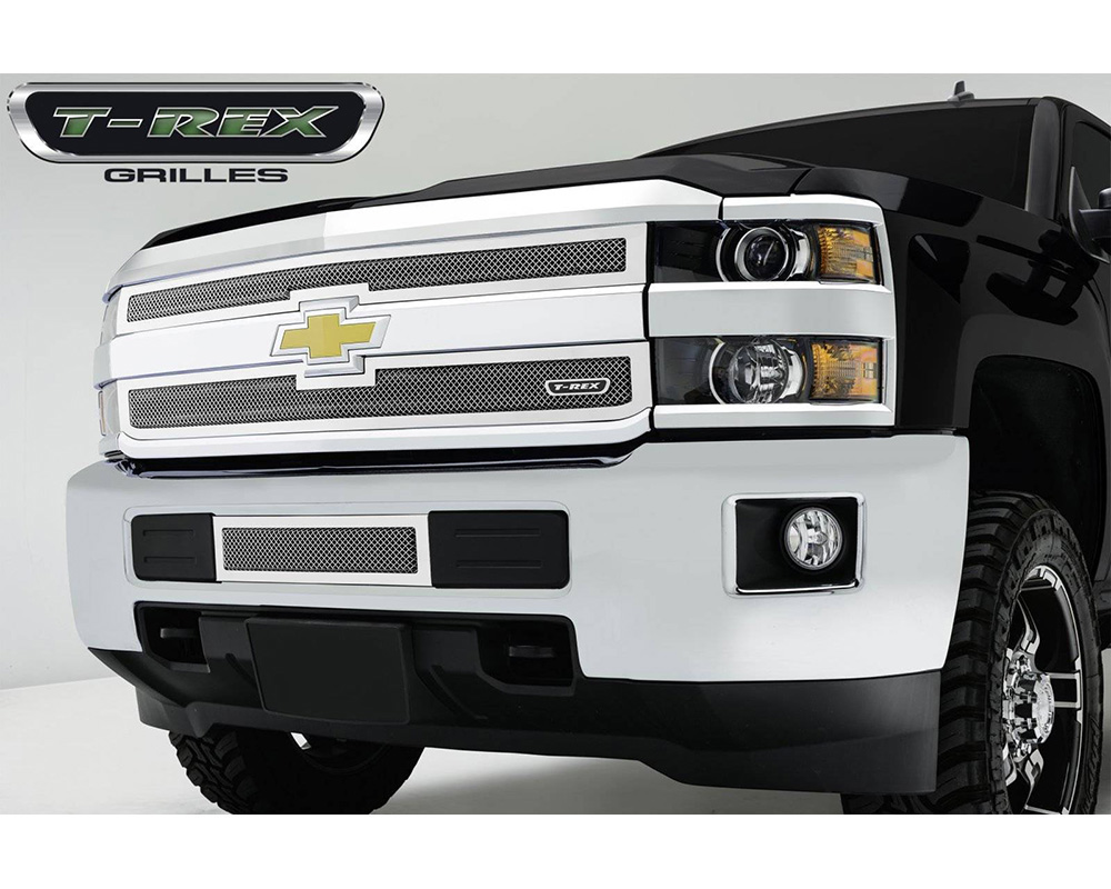 Silverado HD Bumper Grille 15-18 Chevrolet Silverado HD Stainless Polished 2 Piece Upper Class Series T-REX Grilles - 55122