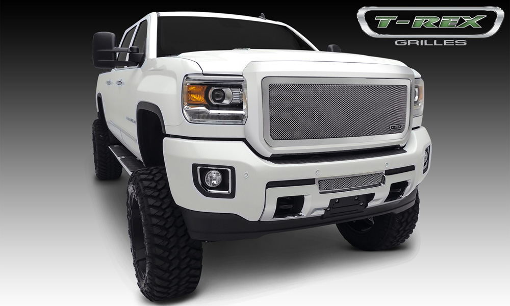Sierra HD Bumper Grille 15-18 GMC Sierra HD Stainless Polished 1 Piece Upper Class Series T-REX Grilles - 55211