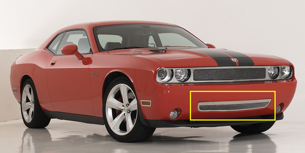Challenger Bumper Grille 09-10 Dodge Challenger Stainless Polished Upper Class Series T-REX Grilles - 55415