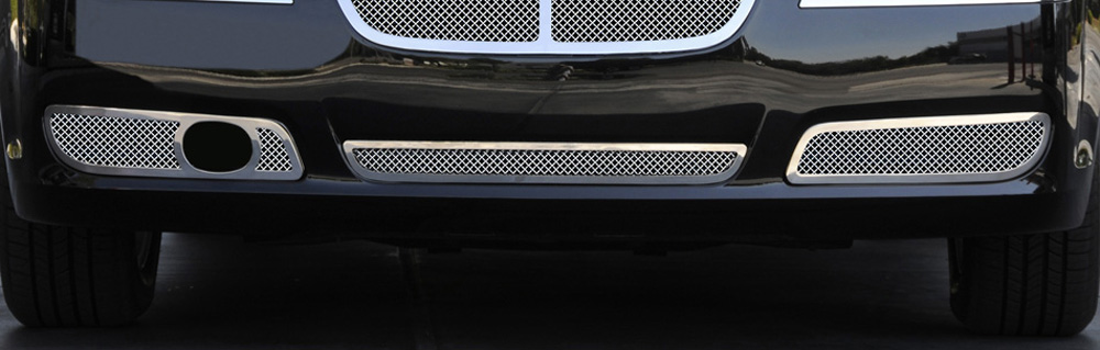 Chrysler 300 Bumper Grille 11-14 Chrysler 300 with Adaptive Cruise Stainless Polished 2 Piece Upper Class Series T-REX Grilles - 55435