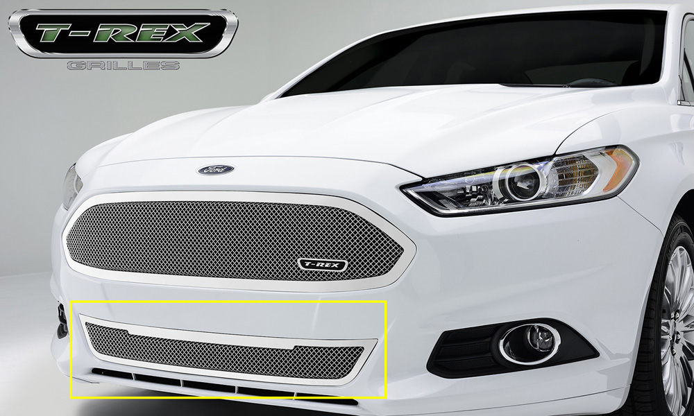 Fusion Bumper Grille 13-15 Ford Fusion Stainless Polished 1 Piece Upper Class Series T-REX Grilles - 55531