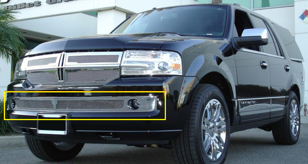 Navigator Bumper Grille 07-14 Lincoln Navigator Stainless Polished Upper Class Series T-REX Grilles - 55712