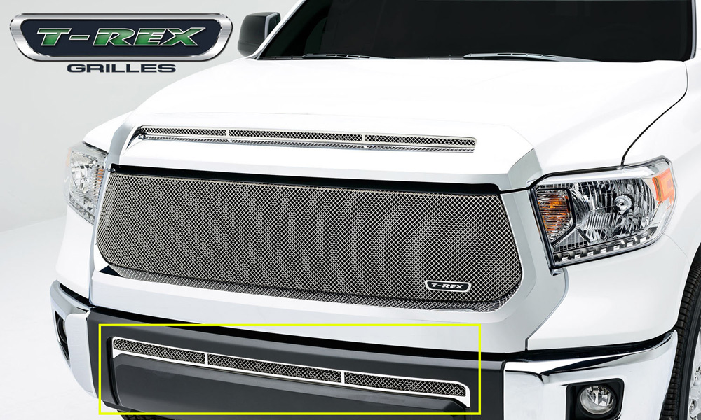 Tundra Bumper Grille 14-17 Toyota Tundra Stainless Polished 1 Piece Upper Class Series T-REX Grilles - 55964