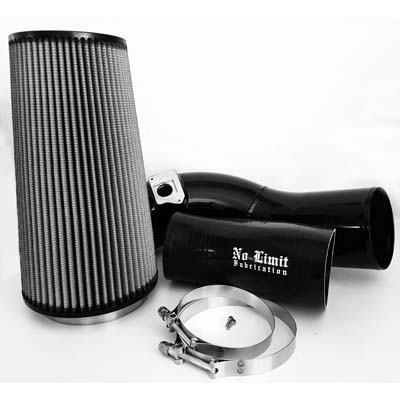 No Limit Fabrication 6.0 Cold Air Intake 2003-2007 Ford Super Duty Power Stroke Black Dry Filter - 60CAIBD