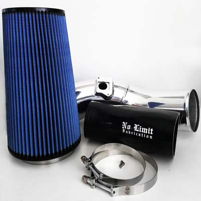 No Limit Fabrication 6.0 Cold Air Intake 2003-2007 Ford Super Duty Power Stroke Polished Oiled Filter - 60CAIPO