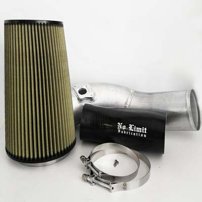 No Limit Fabrication 6.0 Cold Air Intake 2003-2007 Ford Super Duty Power Stroke Raw PG7 Filter - 60CAIRP