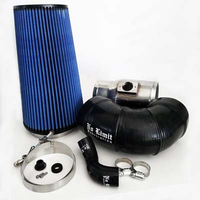 No Limit Fabrication 6.4 Cold Air Intake 2008-2010 Ford Super Duty Power Stroke Polished Oiled Filter for Mod Turbo 5 Inch Inlet - 64CAIO5