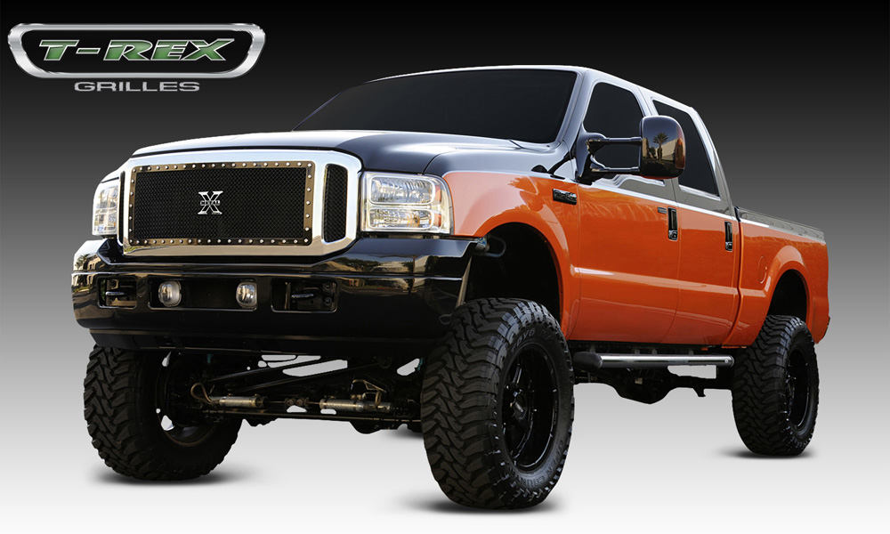 Super Duty Grille 05-07 Ford Super Duty Mild Steel Powdercoat Black X Metal Series T-REX Grilles - 6705611