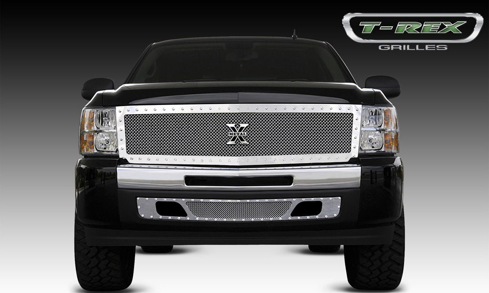 Silverado 1500 Grille 07-13 Chevrolet Silverado 1500 Stainless Polished 1 Piece X Metal Series T-REX Grilles - 6711110