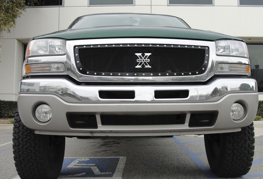 Sierra Grille 03-06 GMC Sierra Mild Steel Powdercoat Black X Metal Series T-REX Grilles - 6712001