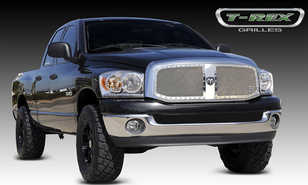 Ram Grille 06-08 Dodge Ram Stainless Polished 2 Piece X Metal Series T-REX Grilles - 6714670