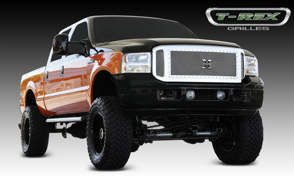 Super Duty Grille 05-07 Ford Super Duty Stainless Polished 3 Piece X Metal Series T-REX Grilles - 6715610