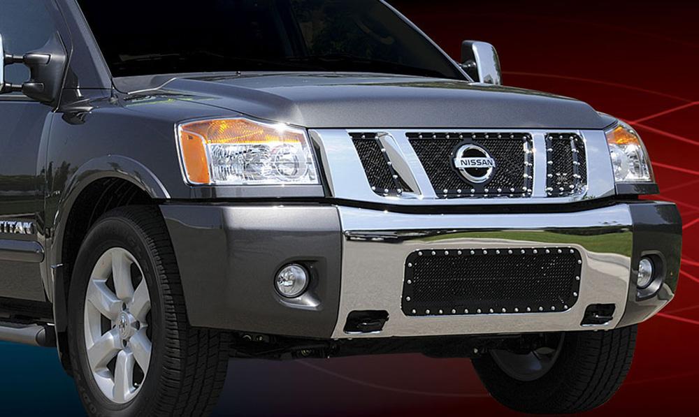 Titan Grille 08-14 Nissan Titan Mild Steel Powdercoat Black 3 Piece X Metal Series T-REX Grilles - 6717811