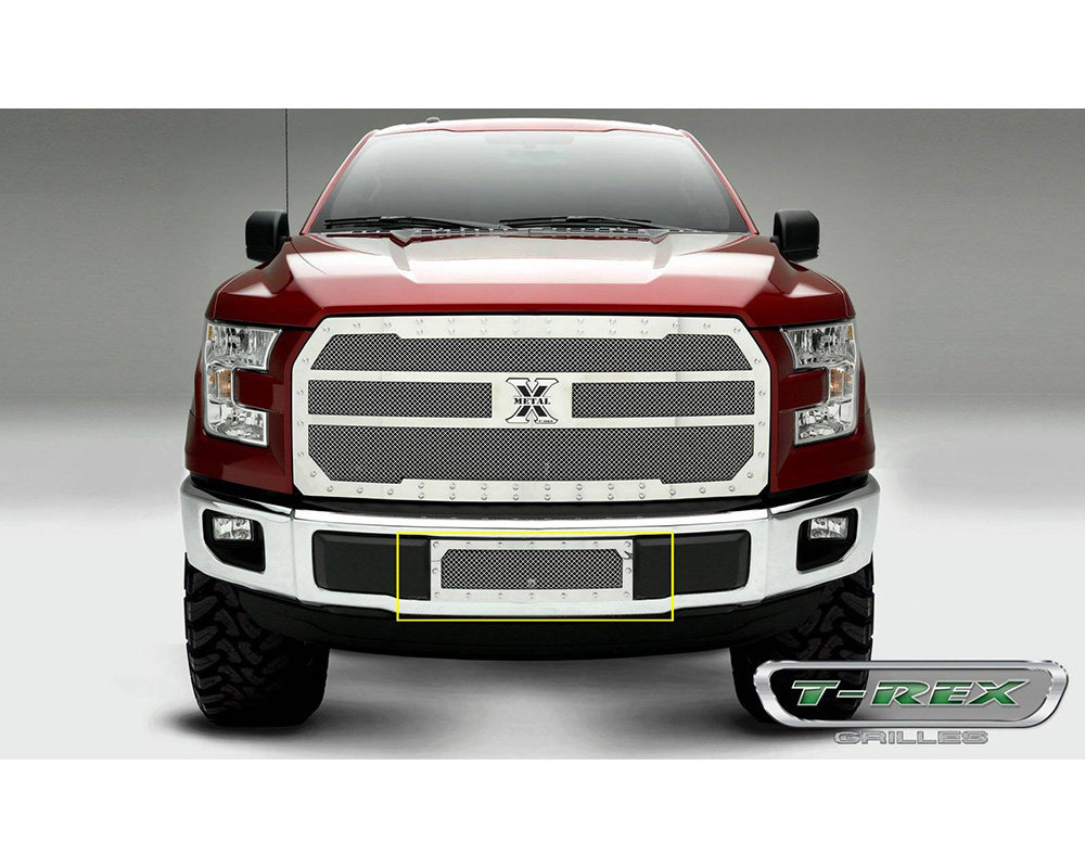F-150 Bumper Grille 15-17 Ford F-150 ECO Boost Stainless Polished X Metal Series T-REX Grilles - 6725730