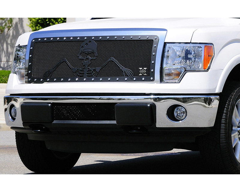 F-150 Grille 09-12 Ford F-150 Mild Steel Powdercoat Flat Black 1 Piece X Metal Series T-REX Grilles - 7115686