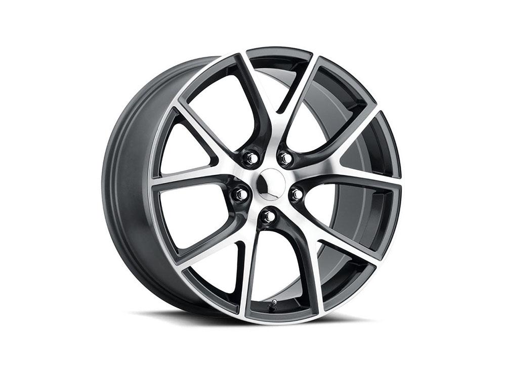 Factory Reproduction Series 75 Wheels 20x10 5x5 +50 HB 71.5 Trackhawk Comp Grey Mach Face w/Cap - 75010505010