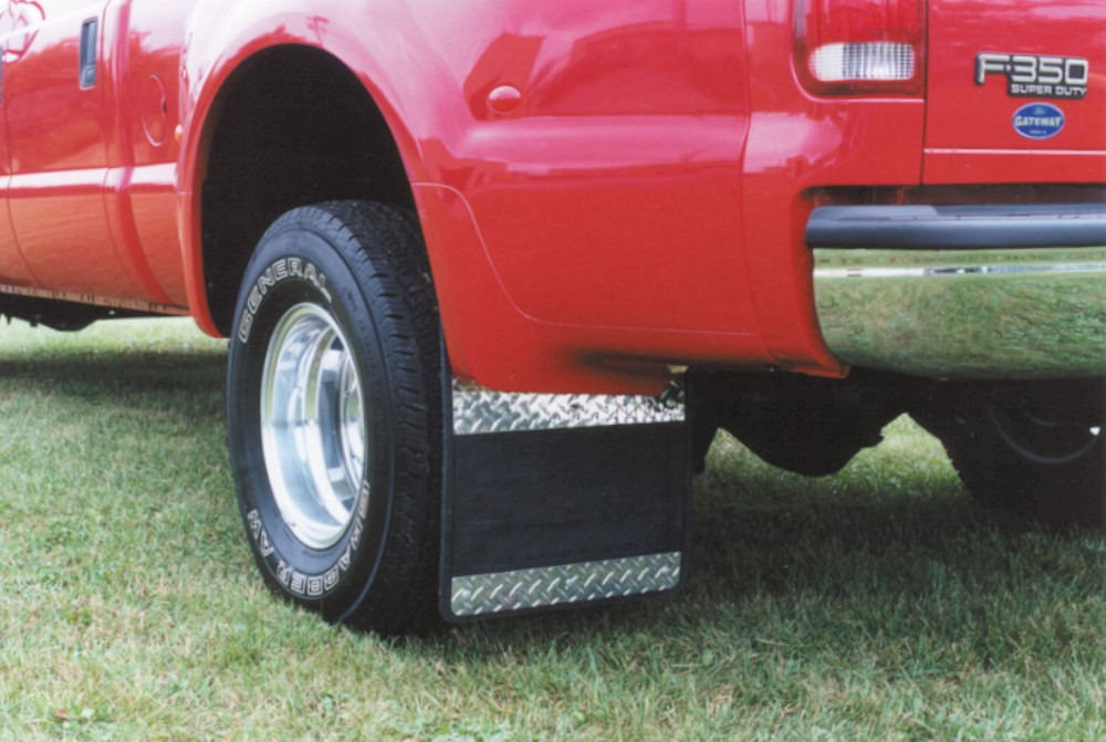 Dually Mud Flaps >> Mud Flaps Classic Dually Rubber Mudflaps Diamond Tread Aluminum Inserts 99 10 Ford F350 19 X 24 Owens Products