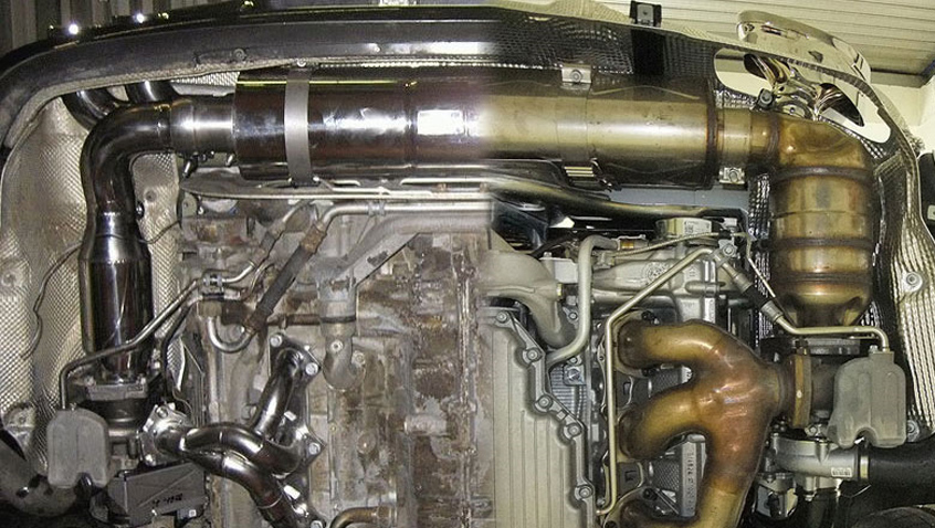 FVD Brombacher High Flow Cat Exhaust System w Bypass Valves Porsche 997.2 TT 10-12 - FVD-997TT-EXT-CATBY